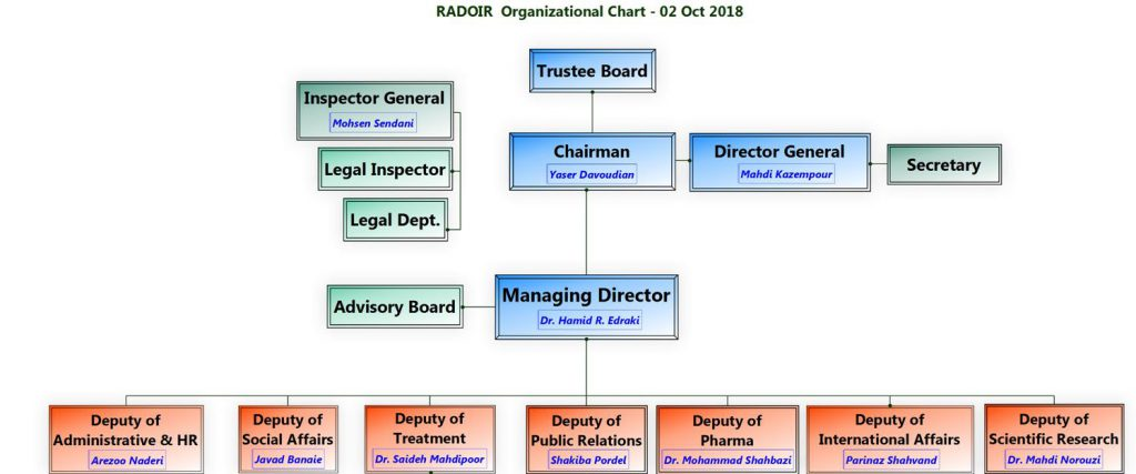 Rare disease foundation of IRAN, Organizational Chart